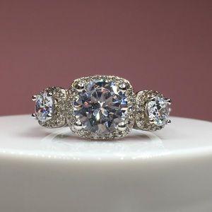 Jewelry - 14k white gold 3 stone diamond wedding bridal ring
